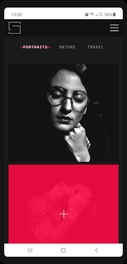 photographer portfolio website design gs project mobile view